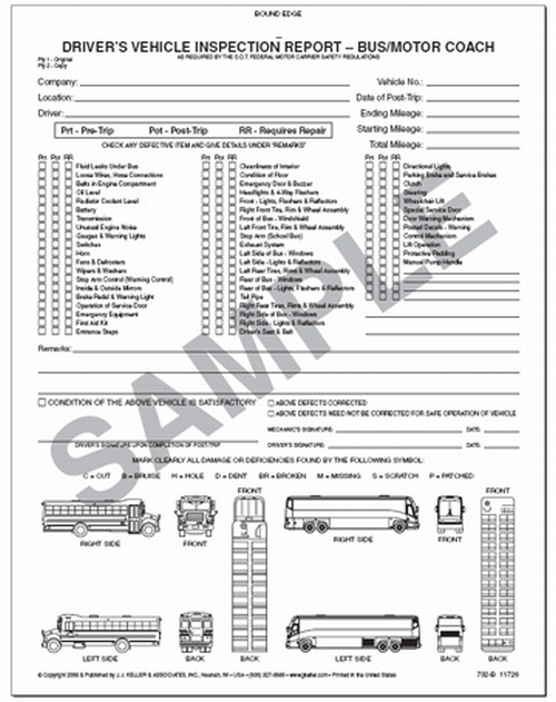Driver'S Vehicle Inspection Report For Bus & Motor Coach