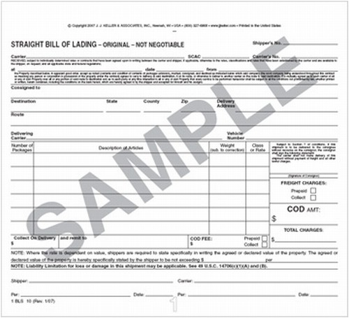 Bill Of Lading Form Printable Sample Bill Of Lading Pdf Form Best