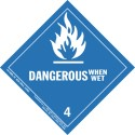 Dangerous When Wet HazMat Label Class 4 Division 4.3 19-HML