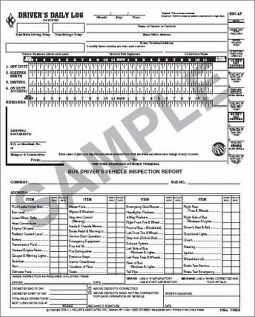 109-L 2 In 1 Bus Driver'S Daily Log/Dvir Carbonless Book Format 2