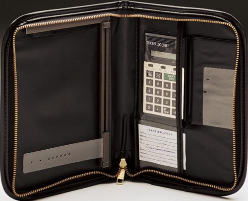 751 rvn bk black zip up vinyl log book cover with calculator with