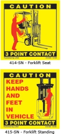 3 Point Contact Labels for Forklif Seated and Standing