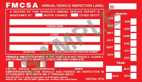 Annual vehicle inspection label english aluminum with for Federal motor carrier safety regulations pdf