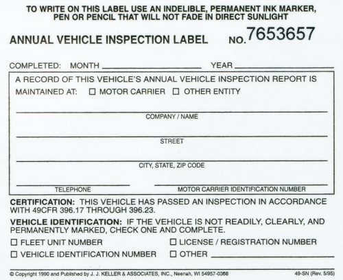 Annual Vehicle Inspection Label Vinyl With Protective