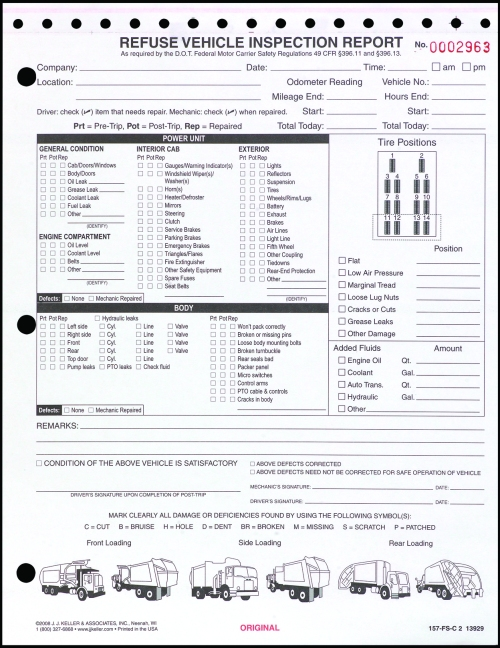 Detailed DVIR W Illustrations Refuse Vehicle Inspection Report 2 Ply Carbonless Snap Out 13929 157 FS C2