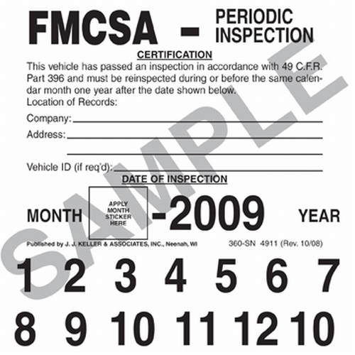 FMCSA Periodic Inspection Label Vinyl with Permanent Adhesive 360-SN ...