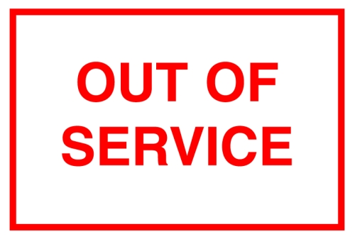 Out of Service Windshield Label Clear Mylar 51-SN - Vehicle ...
